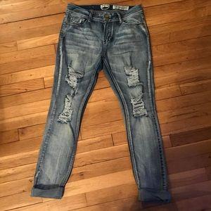 Indigo Rein Anklet Distressed Jeans Size 13